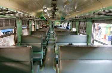 Third class train compartments in Thailand