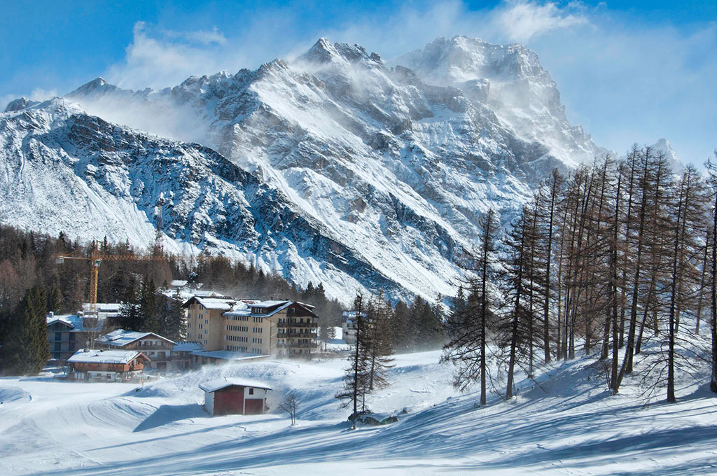 Mountain ski village in Cortina, Italy