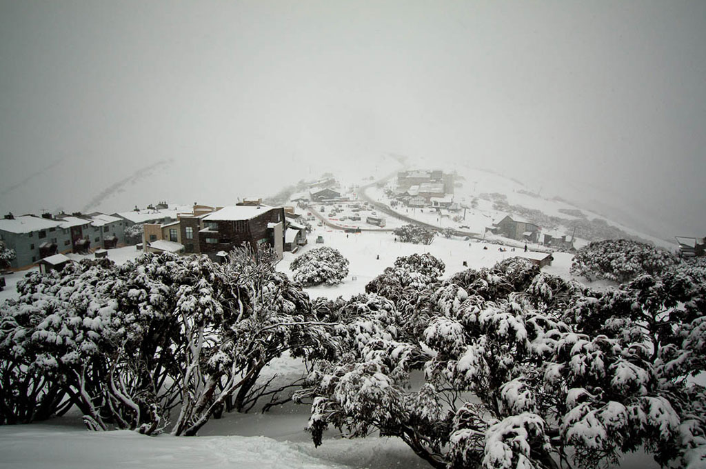 Snow covered mountain ski village in Mount Hotham, Australia