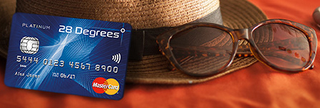 28 Degrees Platinum credit card, hat and sunglasses