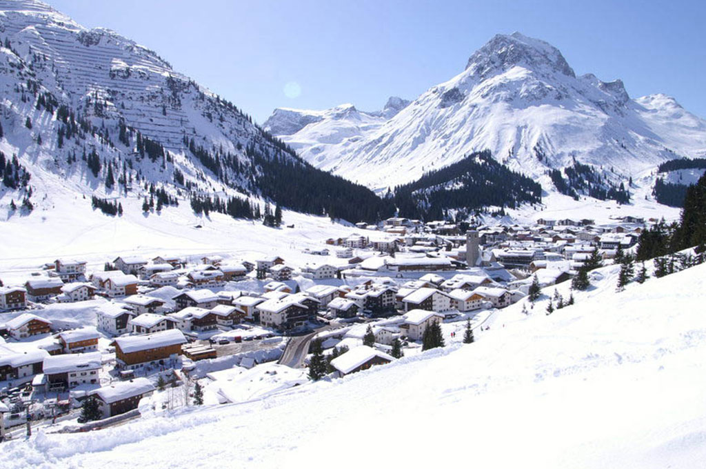 Snow covered mountain ski village in Lech am Arlberg, Austria