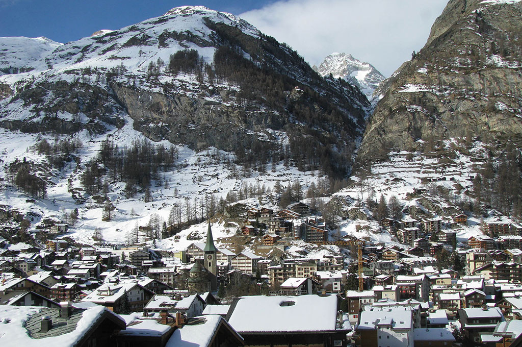 Snow covered mountain village in Zermatt, Switzerland